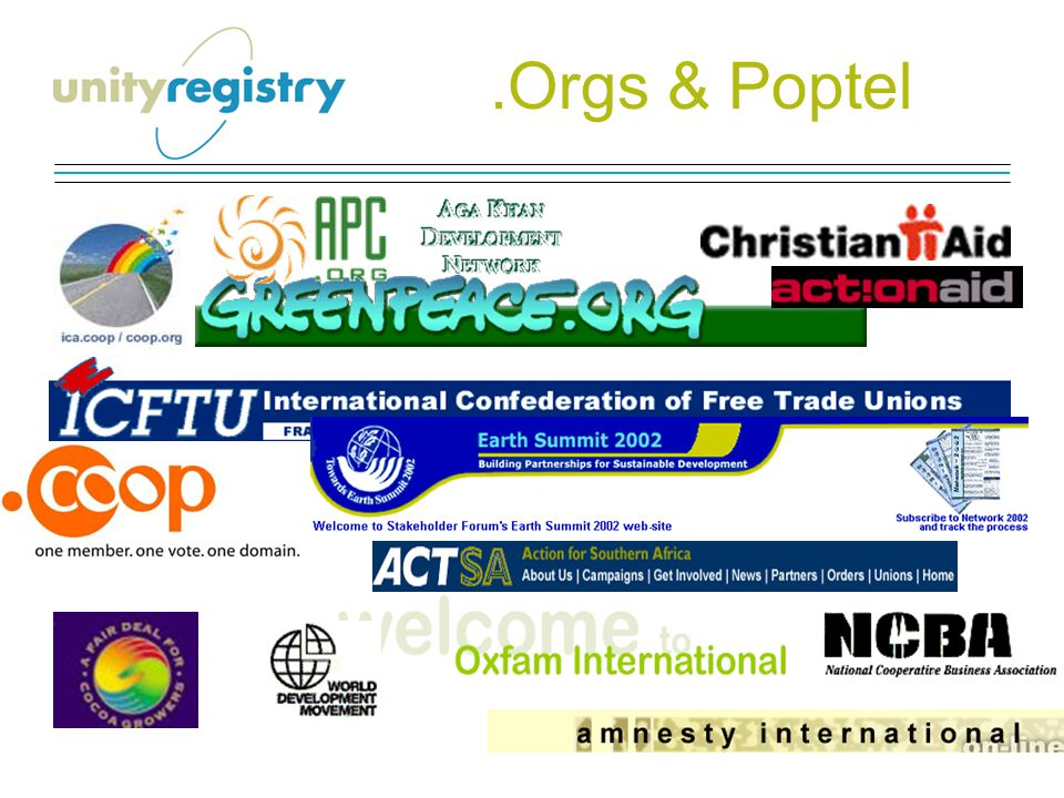 Sustainable Development Human Rights Trade Unions Consumers Organisations Campaigning GroupsCivil Society The World of.ORGS GLOBALLY Faith Groups Trade Associations