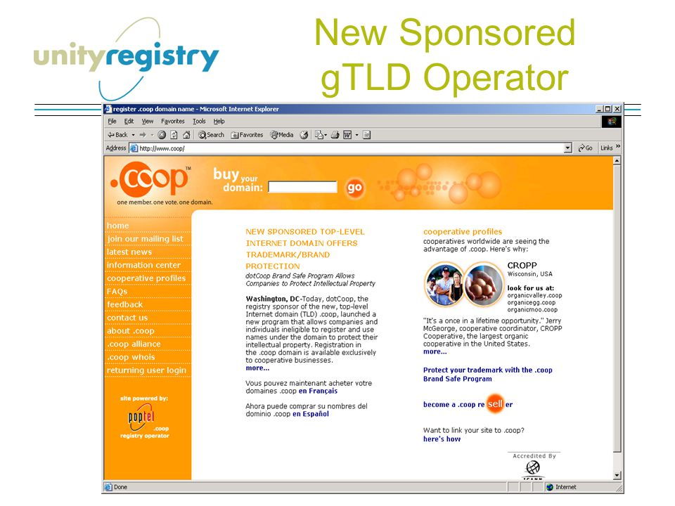 New Sponsored gTLD Operator