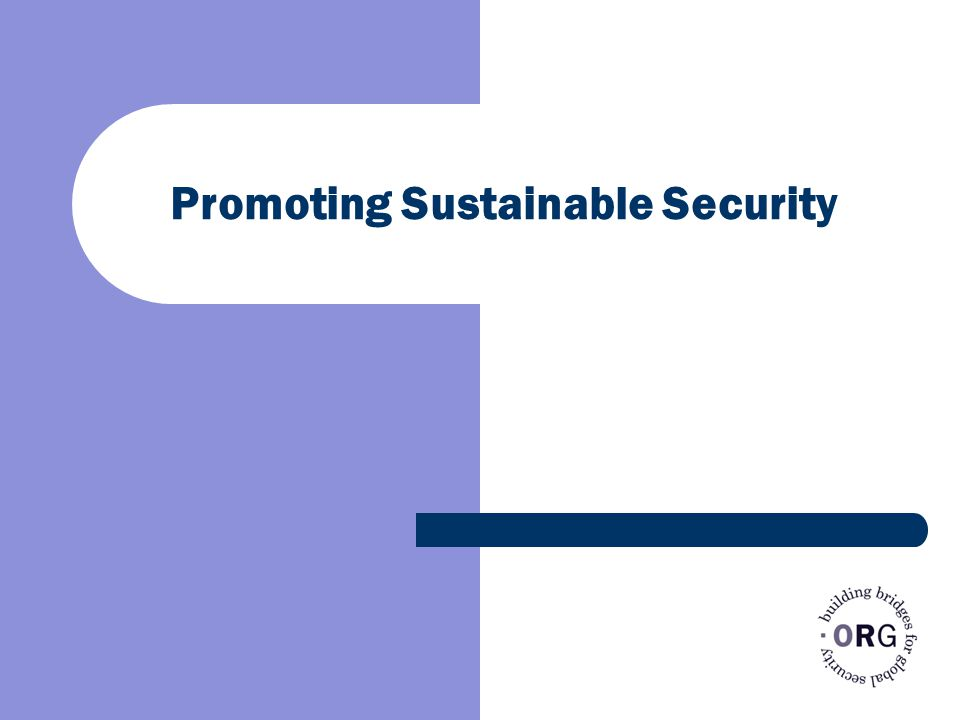 Promoting Sustainable Security
