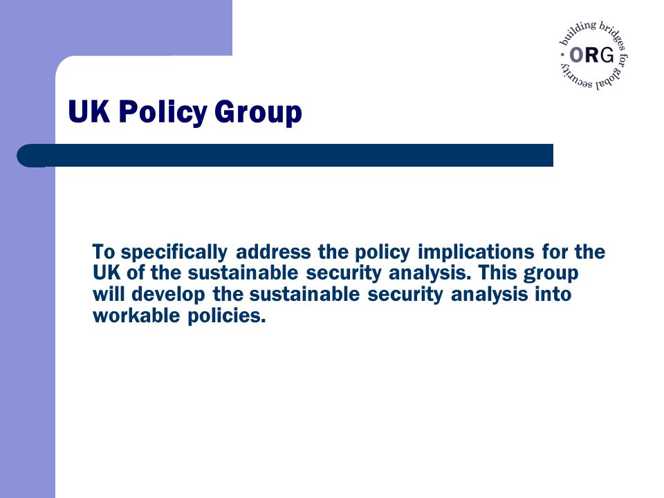 UK Policy Group To specifically address the policy implications for the UK of the sustainable security analysis.
