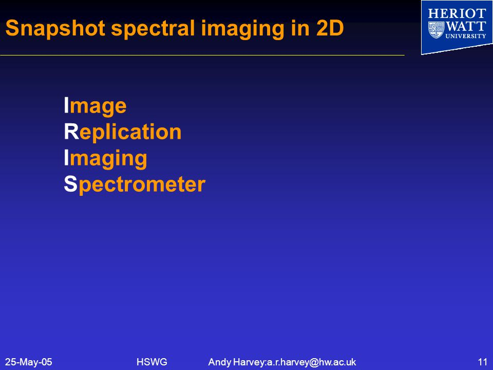 HSWG Andy Harvey:a.r.harvey@hw.ac.uk25-May-0511 Snapshot spectral imaging in 2D Image Replication Imaging Spectrometer