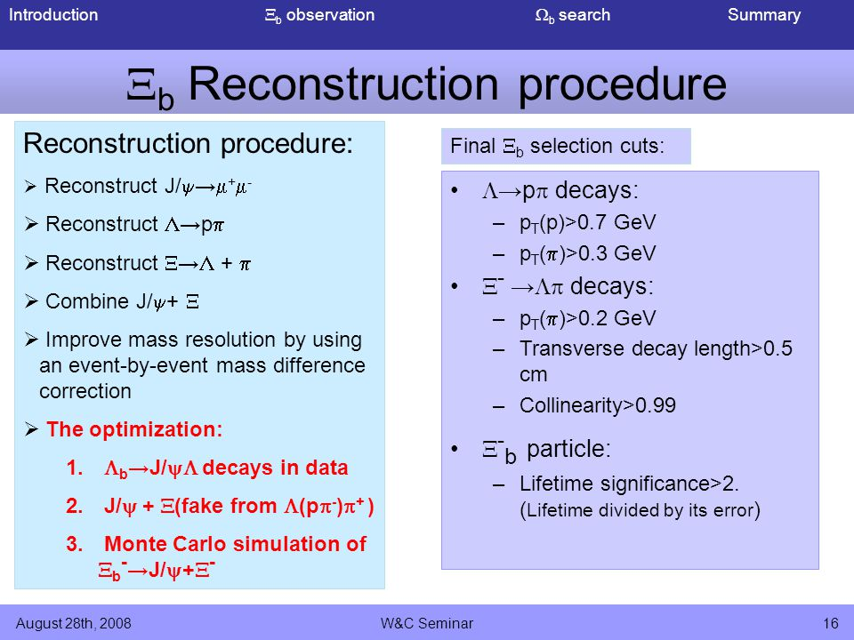Introduction  b observation  b search Summary August 28th, 2008W&C Seminar16  b Reconstruction procedure Reconstruction procedure:  Reconstruct J/  →  +  -  Reconstruct  →p   Reconstruct  →  +   Combine J/  +   Improve mass resolution by using an event-by-event mass difference correction  The optimization: 1.