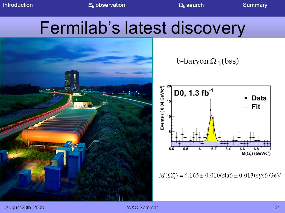 Introduction  b observation  b search Summary August 28th, 2008W&C Seminar54 Fermilab's latest discovery b-baryon  - b (bss)
