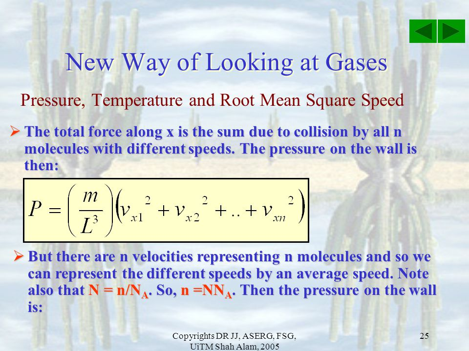 Copyrights DR JJ, ASERG, FSG, UiTM Shah Alam, 2005 25 Pressure, Temperature and Root Mean Square Speed New Way of Looking at Gases  The total force a