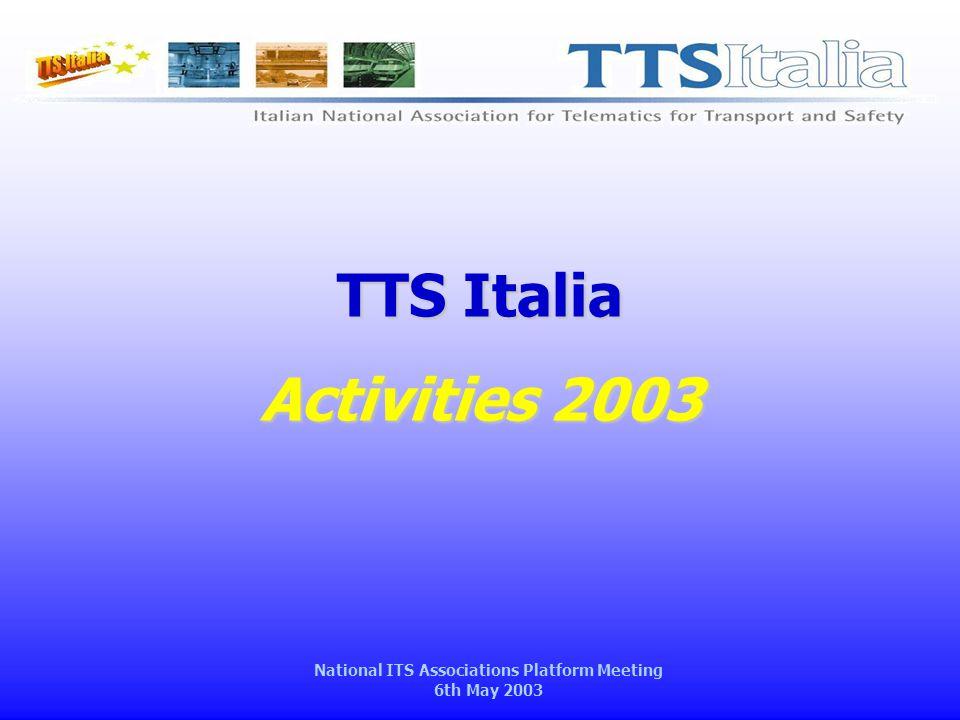 National ITS Associations Platform Meeting 6th May 2003 Membership 2003  17 new members (11 companies, 6 universities) (*) Update April 2003