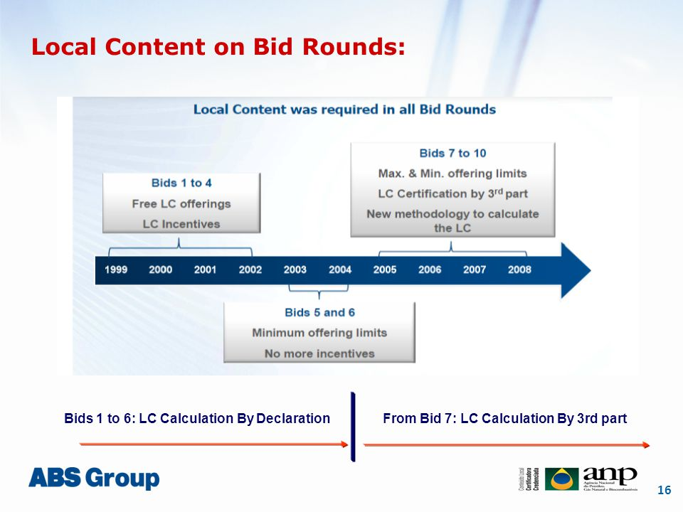 16 Local Content on Bid Rounds: Bids 1 to 6: LC Calculation By DeclarationFrom Bid 7: LC Calculation By 3rd part