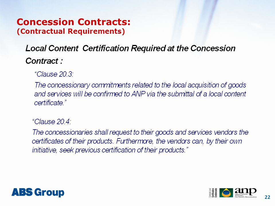 22 Concession Contracts: (Contractual Requirements)