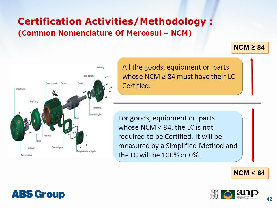 42 Certification Activities/Methodology : (Common Nomenclature Of Mercosul – NCM) NCM ≥ 84 NCM < 84 All the goods, equipment or parts whose NCM ≥ 84 m