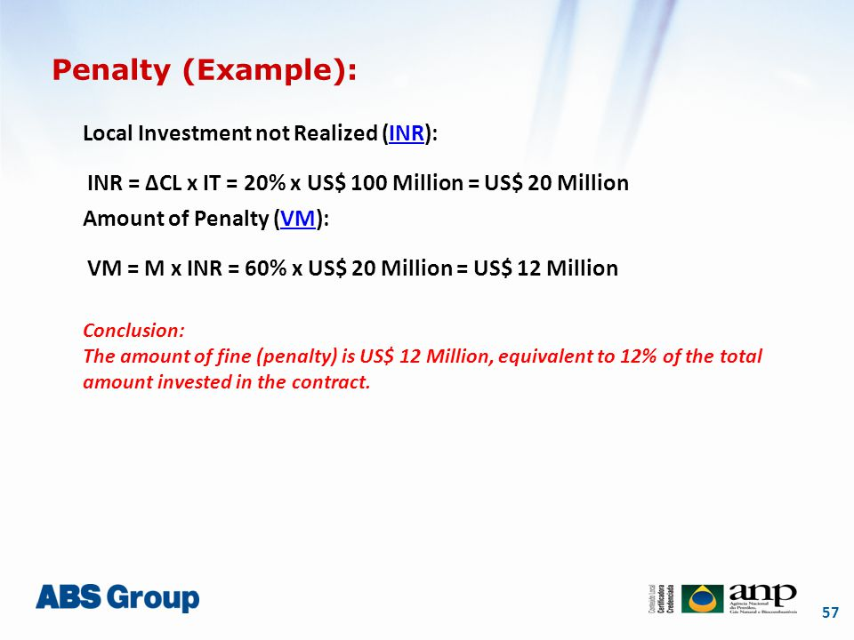 57 Penalty (Example): Local Investment not Realized (INR):INR Amount of Penalty (VM):VM Conclusion: The amount of fine (penalty) is US$ 12 Million, equivalent to 12% of the total amount invested in the contract.