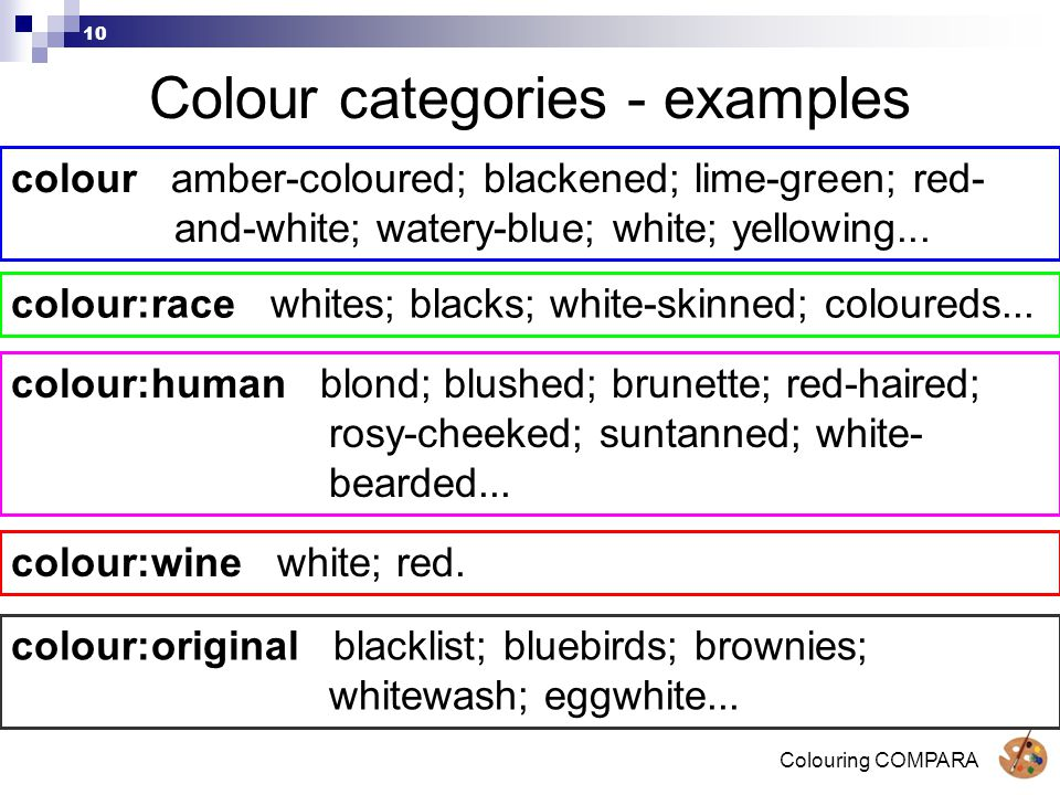 Colouring COMPARA 10 Colour categories - examples colour amber-coloured; blackened; lime-green; red- and-white; watery-blue; white; yellowing...