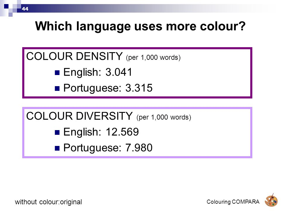 Colouring COMPARA 44 Which language uses more colour.