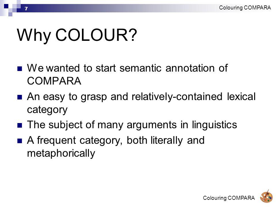 Colouring COMPARA 7 Why COLOUR.