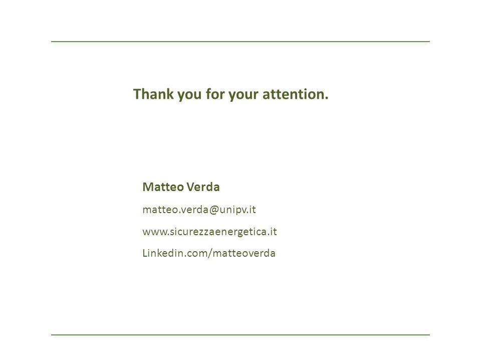 Matteo Verda matteo.verda@unipv.it www.sicurezzaenergetica.it Linkedin.com/matteoverda Thank you for your attention.