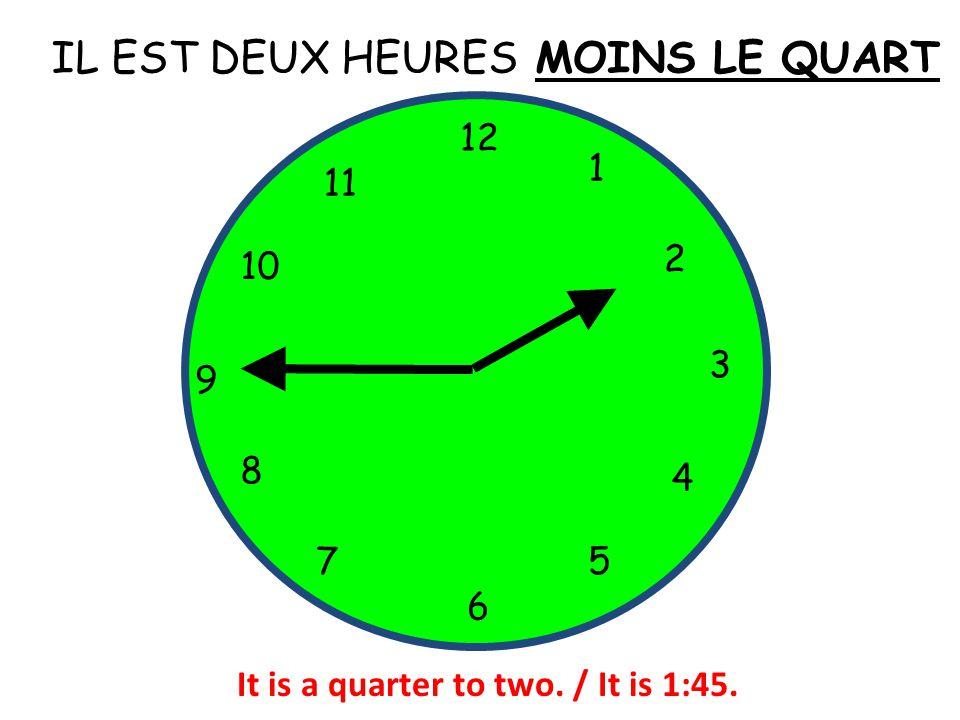 IL EST DEUX HEURES 12 1 5 4 9 3 6 10 11 2 7 8 MOINS LE QUART It is a quarter to two. / It is 1:45.