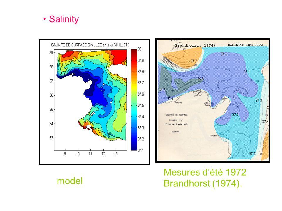 Salinity model Mesures d'été 1972 Brandhorst (1974).