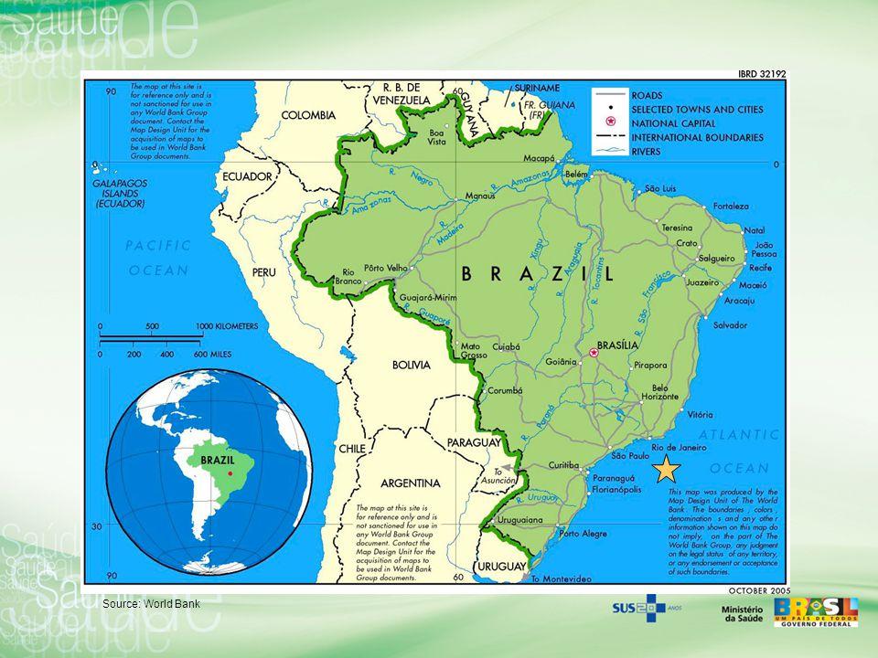 Brazil General Data Population, total (millions): 192 –Urban 80%; Rural 20% Surface area (sq.