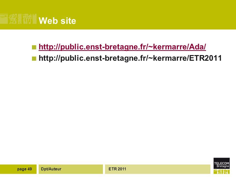 Dpt/Auteur Web site http://public.enst-bretagne.fr/~kermarre/Ada/ http://public.enst-bretagne.fr/~kermarre/ETR2011 ETR 2011page 49