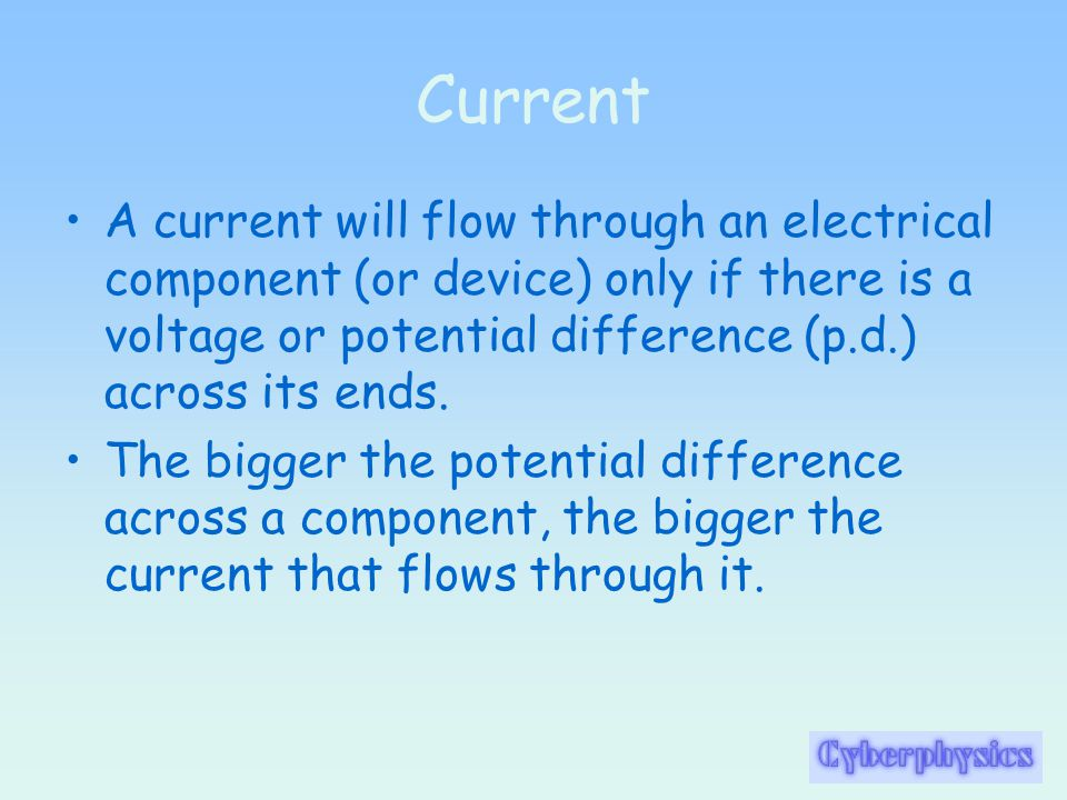 Series Circuits When components are connected in series: their total resistance is the sum of their separate resistances R TOTAL = R 1 + R 2 +..........R N ; the same current flows through each component; the potential difference from the supply is shared between them.