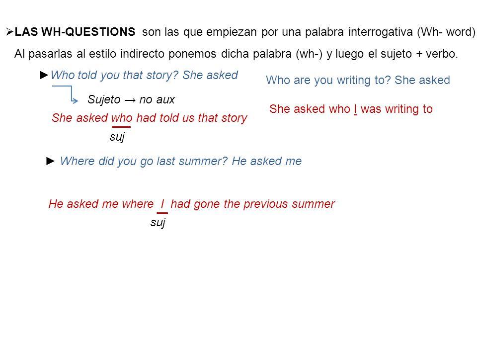  LAS WH-QUESTIONS son las que empiezan por una palabra interrogativa (Wh- word) Al pasarlas al estilo indirecto ponemos dicha palabra (wh-) y luego el sujeto + verbo.