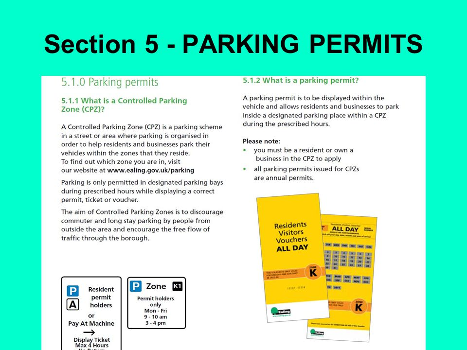 Section 5 - PARKING PERMITS