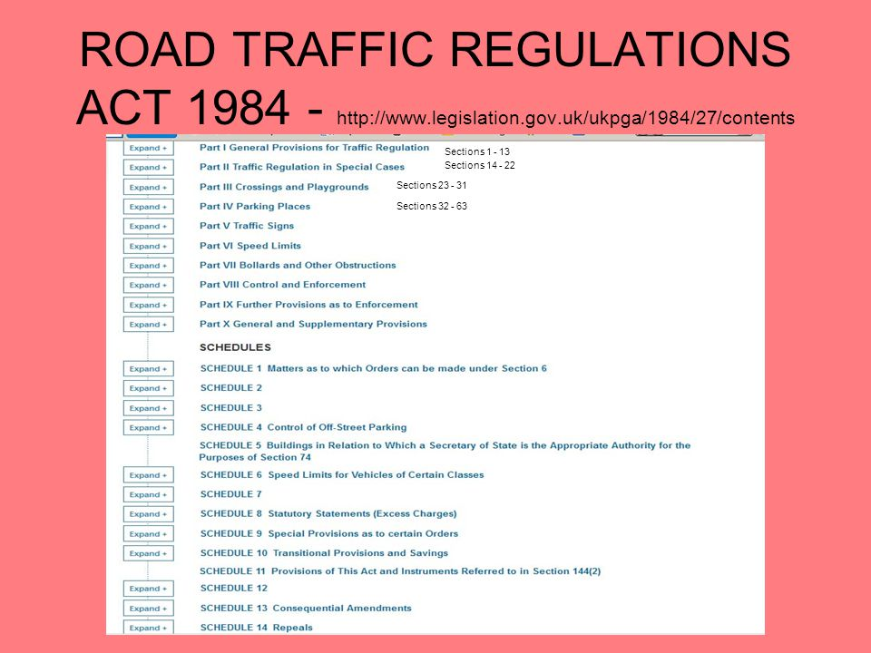 ROAD TRAFFIC REGULATIONS ACT 1984 - http://www.legislation.gov.uk/ukpga/1984/27/contents Sections 1 - 13 Sections 14 - 22 Sections 23 - 31 Sections 32 - 63