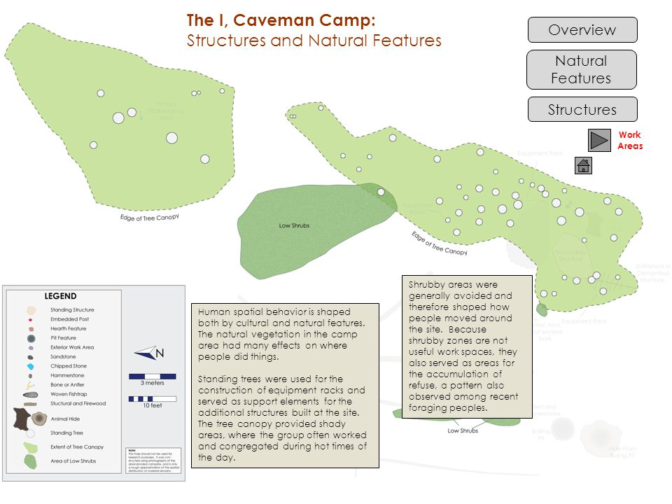 Overview Structures Natural Features Human spatial behavior is shaped both by cultural and natural features. The natural vegetation in the camp area h