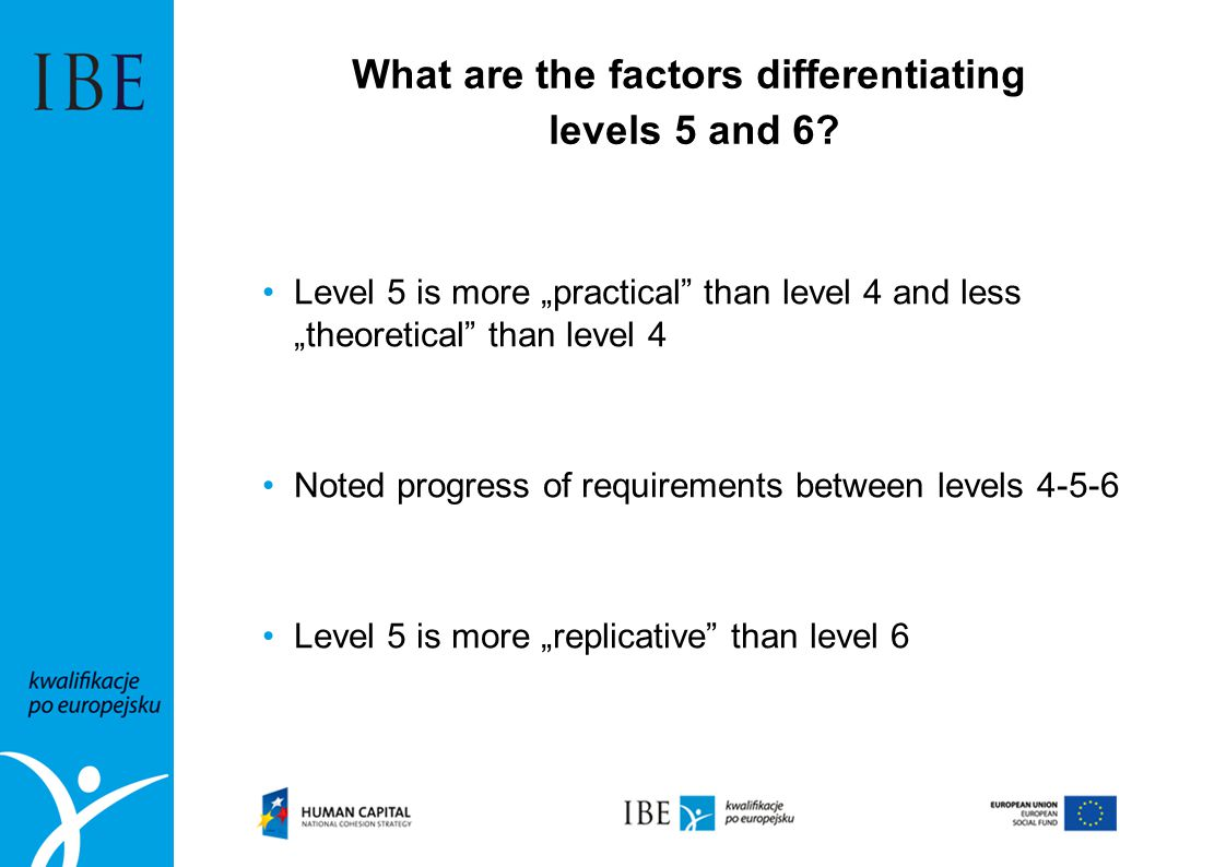 "What are the factors differentiating levels 5 and 6? Level 5 is more ""practical"" than level 4 and less ""theoretical"" than level 4 Noted progress of re"