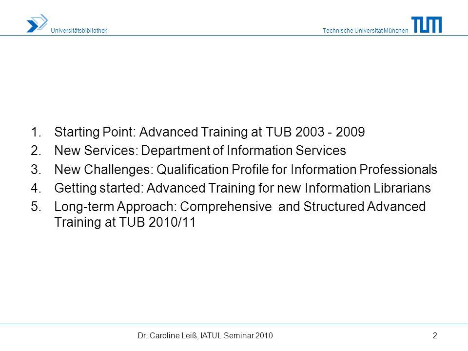 Technische Universität München Universitätsbibliothek 1.Starting Point: Advanced Training at TUB 2003 - 2009 2.New Services: Department of Information