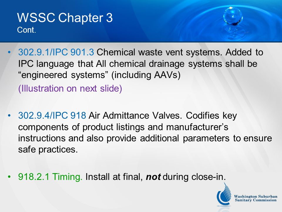 WSSC Chapter 3 Cont.302.9.1/IPC 901.3 Chemical waste vent systems.