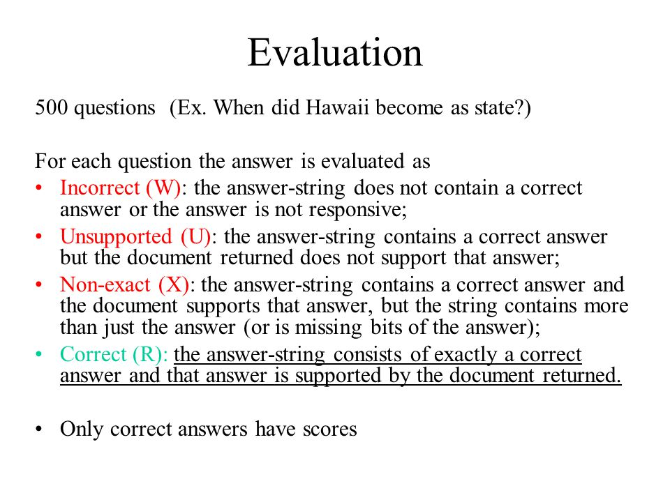 Evaluation 500 questions (Ex.