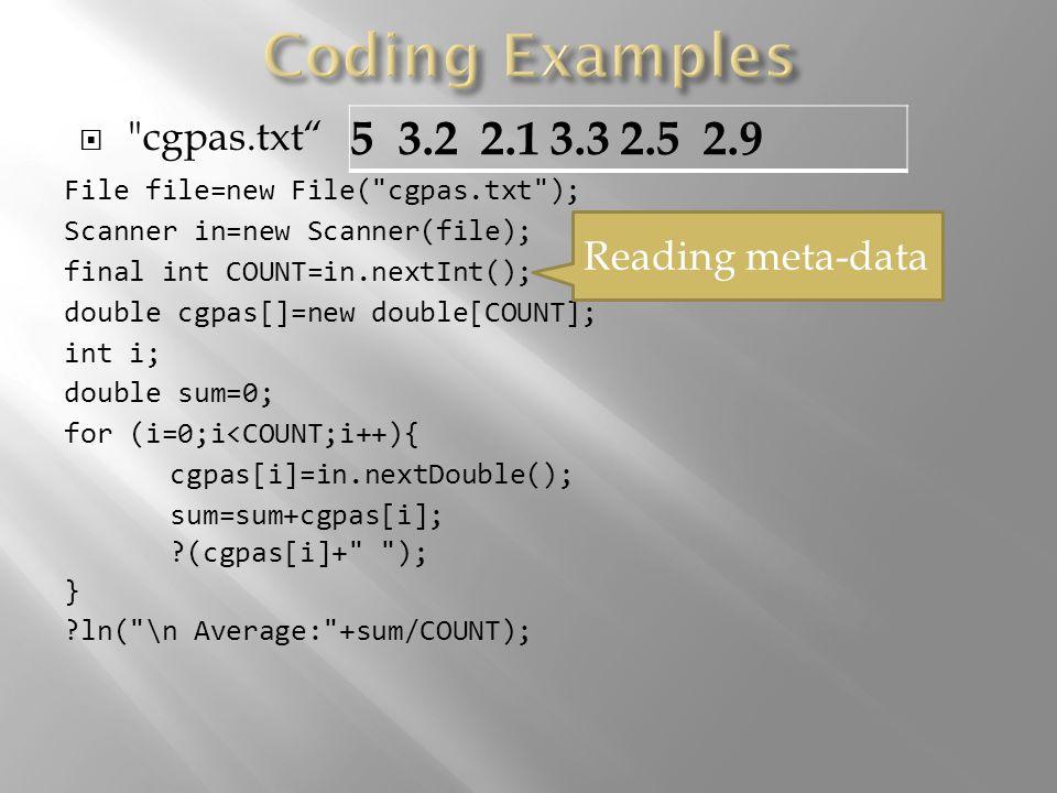 Writing result matrix with meta-data: File file=new File( question.txt ); PrintWriter pw=new PrintWriter( answer.txt ); pw.println(m1+ +n2); for (i=0;i<m1;i++) for (j=0;j<n2;j++) pw.print(result[i][j]+ ); pw.close();