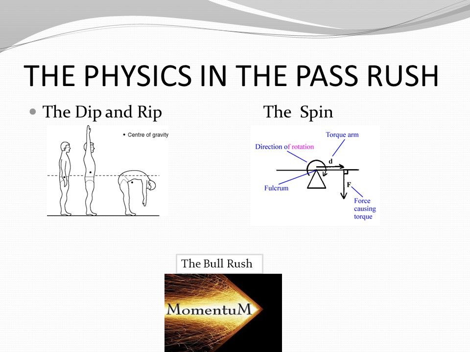 THE PHYSICS IN THE PASS RUSH The Dip and Rip The Spin The Bull Rush