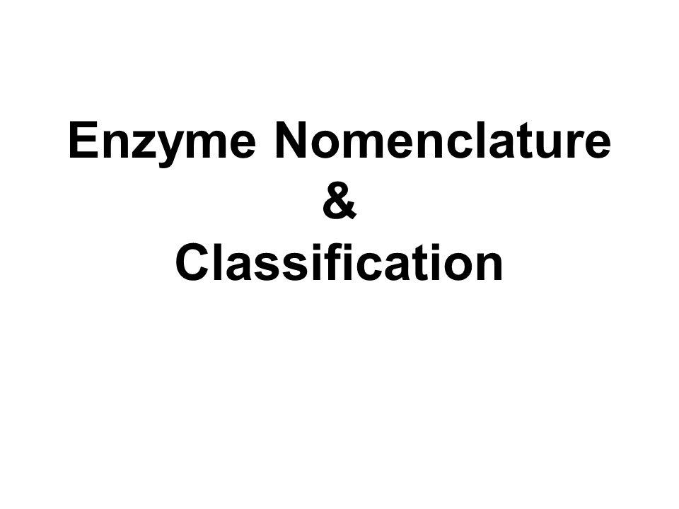 Enzyme Nomenclature & Classification
