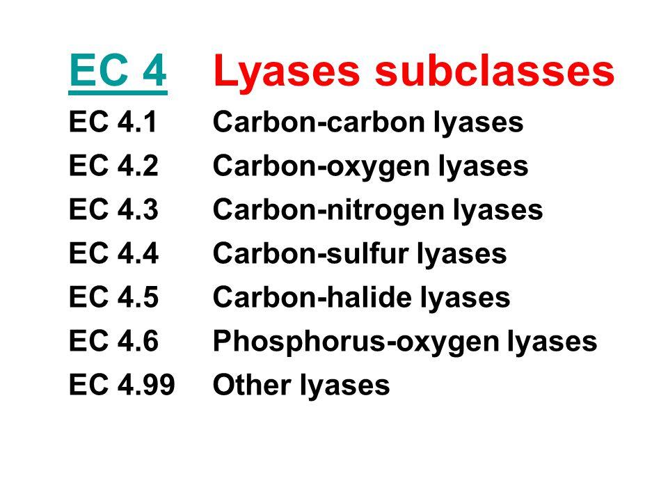 EC 4Lyases subclasses EC 4.1Carbon-carbon lyases EC 4.2Carbon-oxygen lyases EC 4.3Carbon-nitrogen lyases EC 4.4Carbon-sulfur lyases EC 4.5Carbon-halid