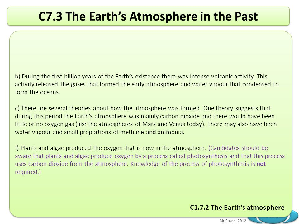 Mr Powell 2012 Index C7.3 The Earth's Atmosphere in the Past b) During the first billion years of the Earth's existence there was intense volcanic act