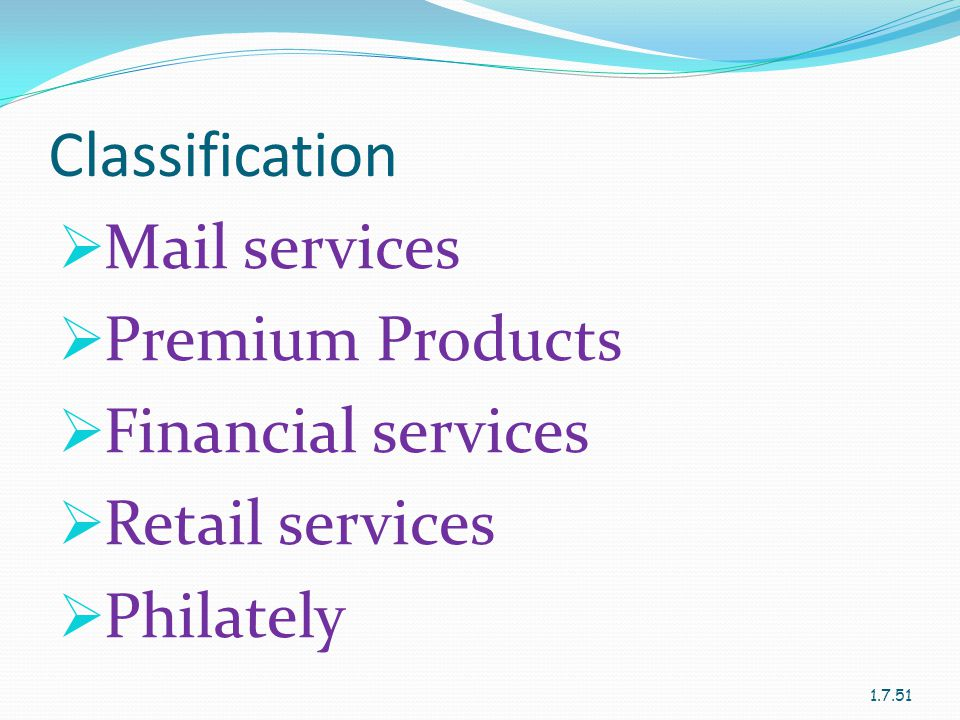 Classification  Mail services  Premium Products  Financial services  Retail services  Philately 1.7.51