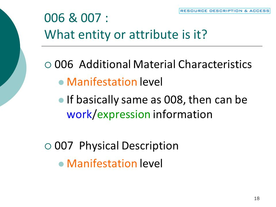 & 007 : What entity or attribute is it.