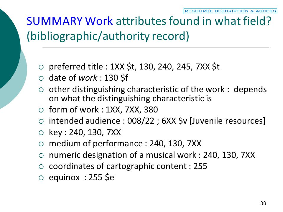 38 SUMMARY Work attributes found in what field.
