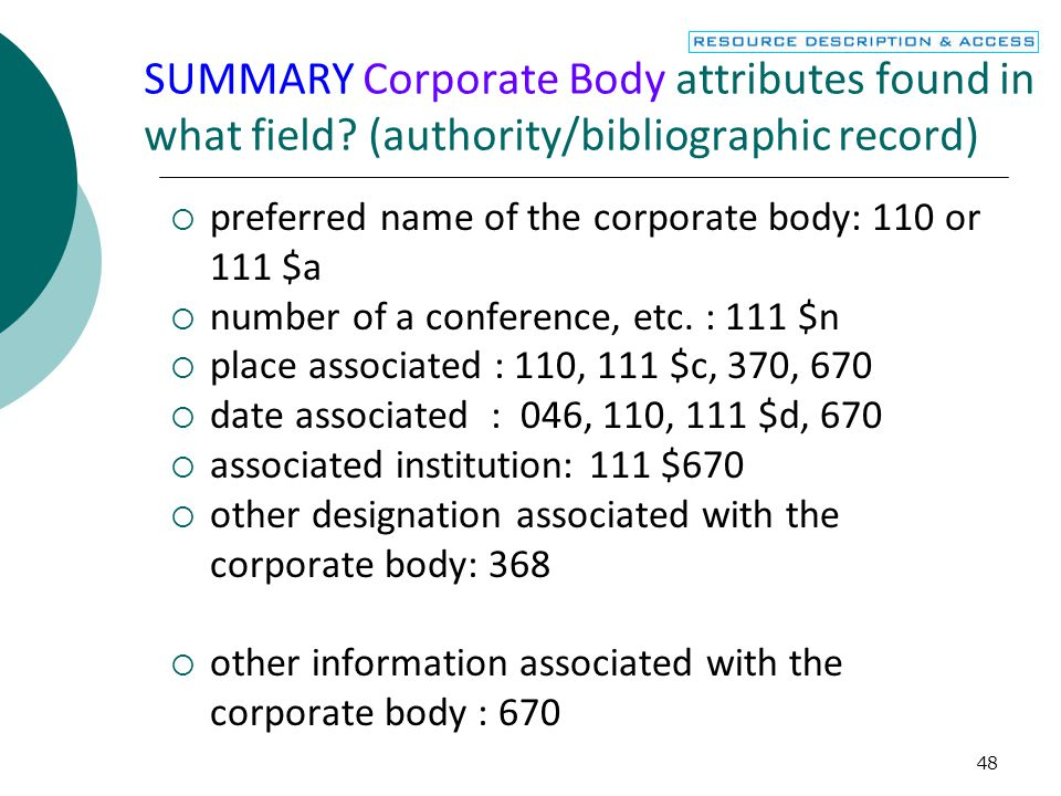 48 SUMMARY Corporate Body attributes found in what field.