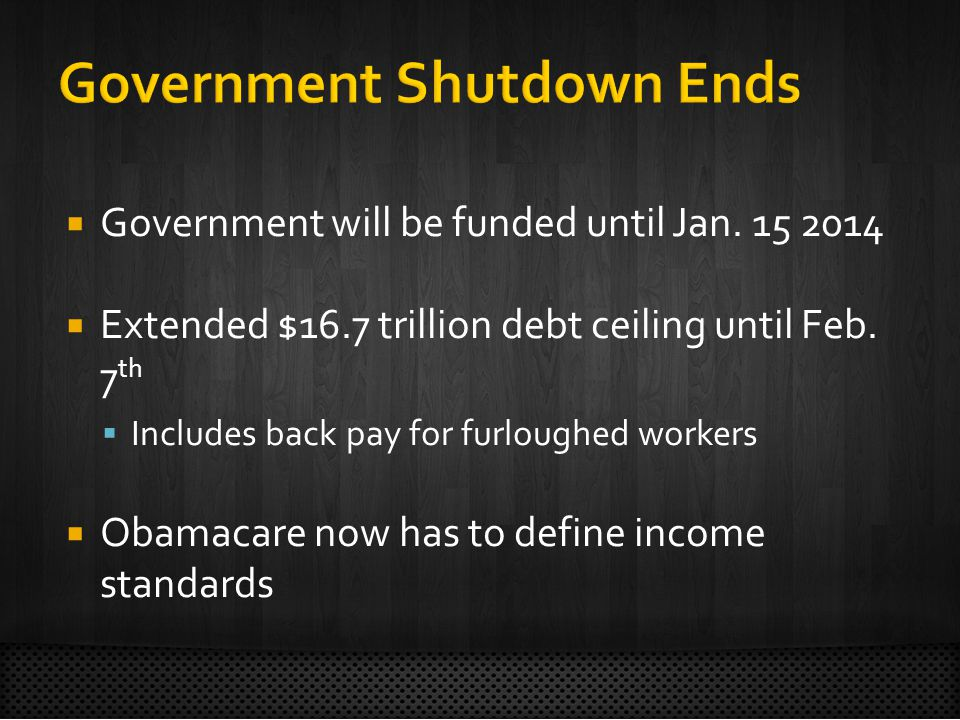 Government will be funded until Jan  Extended $16.7 trillion debt ceiling until Feb.