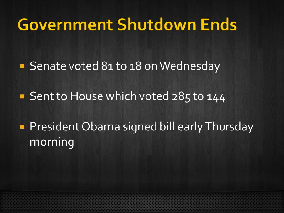  Senate voted 81 to 18 on Wednesday  Sent to House which voted 285 to 144  President Obama signed bill early Thursday morning