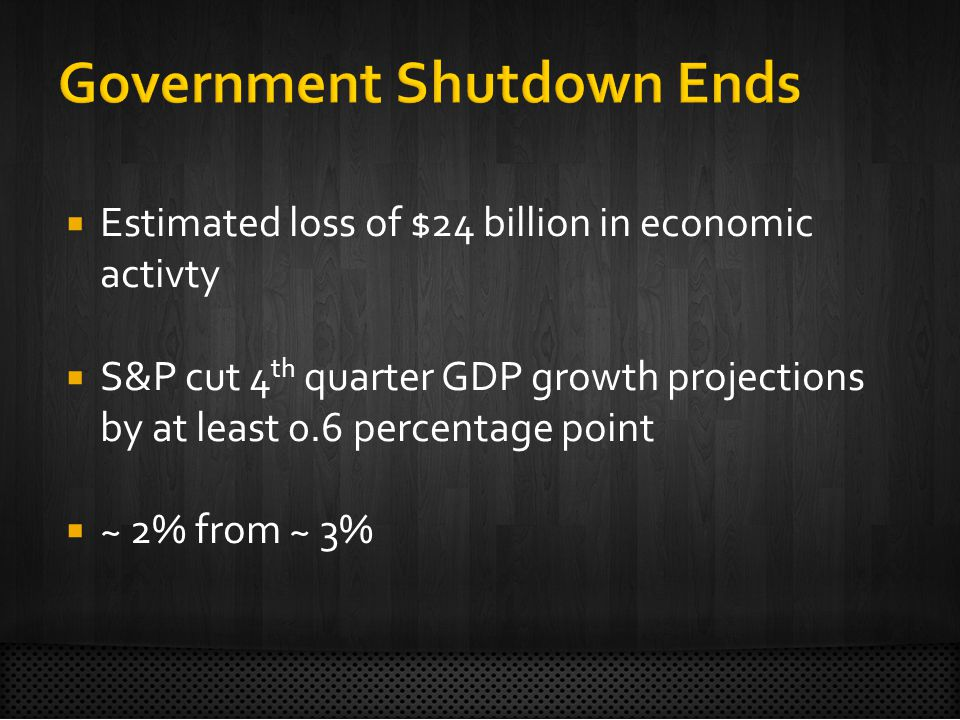  Estimated loss of $24 billion in economic activty  S&P cut 4 th quarter GDP growth projections by at least 0.6 percentage point  ~ 2% from ~ 3%