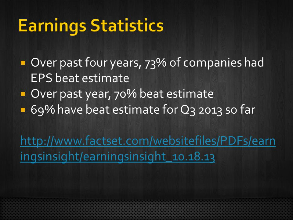  Over past four years, 73% of companies had EPS beat estimate  Over past year, 70% beat estimate  69% have beat estimate for Q so far   ingsinsight/earningsinsight_