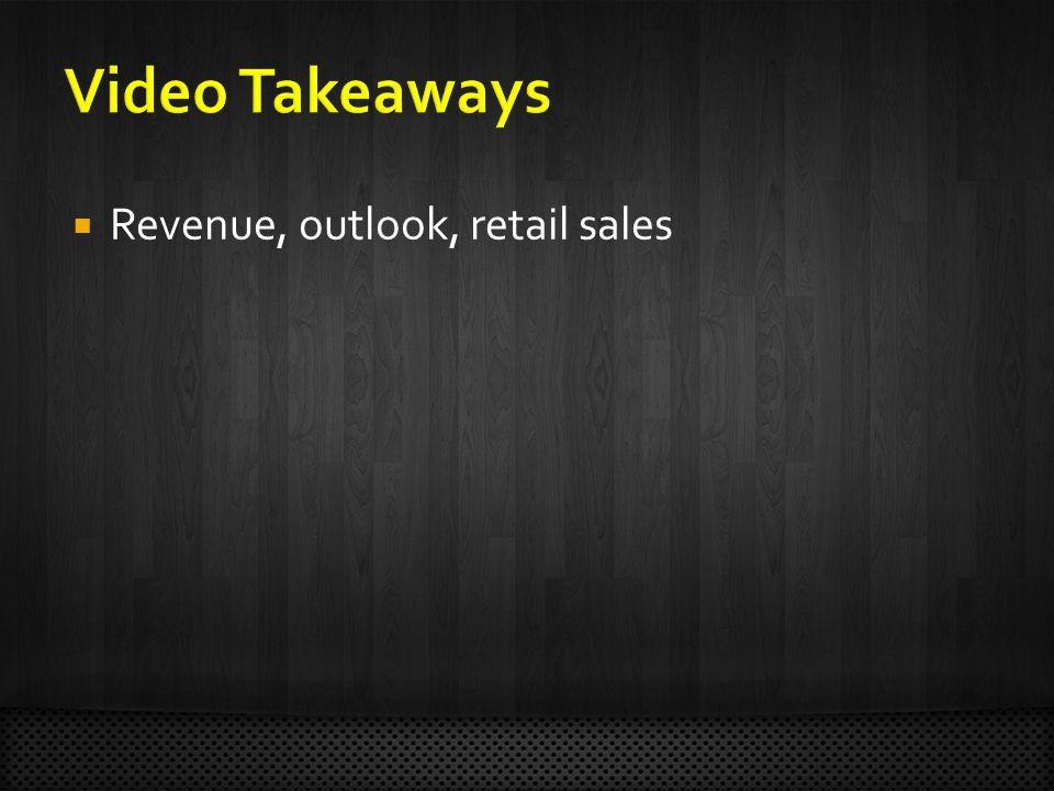  Revenue, outlook, retail sales