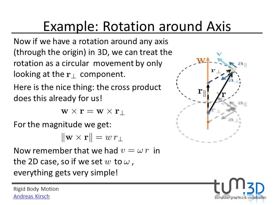 Rigid Body Motion Andreas Kirsch computer graphics & visualization Example: Rotation around Axis Now if we have a rotation around any axis (through the origin) in 3D, we can treat the rotation as a circular movement by only looking at the component.