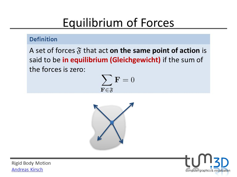 Rigid Body Motion Andreas Kirsch computer graphics & visualization Definition Equilibrium of Forces A set of forces that act on the same point of action is said to be in equilibrium (Gleichgewicht) if the sum of the forces is zero: