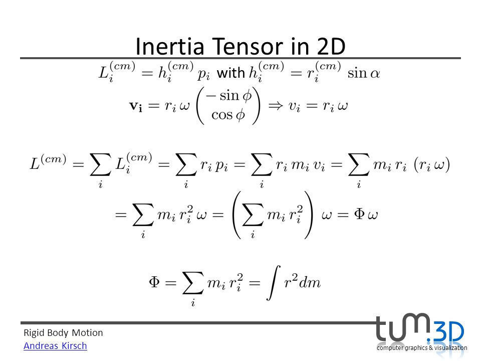 Rigid Body Motion Andreas Kirsch computer graphics & visualization Inertia Tensor in 2D with
