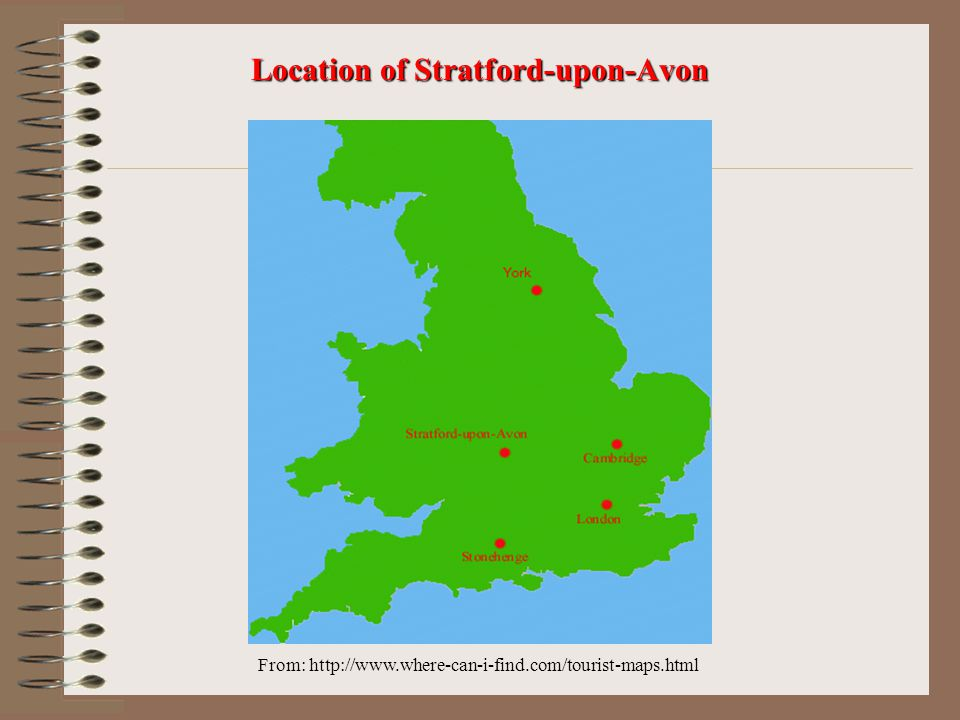 From: http://www.where-can-i-find.com/tourist-maps.html Location of Stratford-upon-Avon
