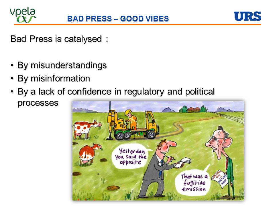Bad Press is catalysed : By misunderstandingsBy misunderstandings By misinformationBy misinformation By a lack of confidence in regulatory and politic