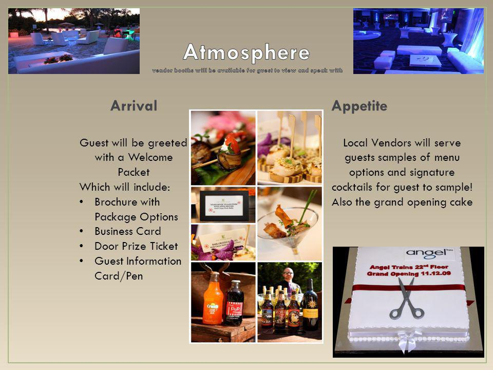 ArrivalAppetite Guest will be greeted with a Welcome Packet Which will include: Brochure with Package Options Business Card Door Prize Ticket Guest Information Card/Pen Local Vendors will serve guests samples of menu options and signature cocktails for guest to sample.